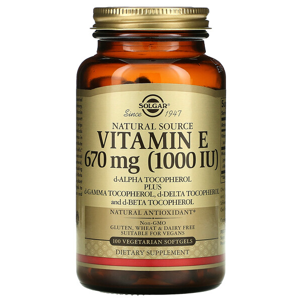 Solgar, Naturally Sourced Vitamin E, 670 mg (1,000 IU), 100 Vegetarian Softgels