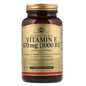 Солгар, Naturally Sourced Vitamin E, 670 mcg (1,000 IU), 100 Vegetarian Softgels отзывы