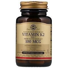 Solgar, Naturally Sourced Vitamin K2, 100 mcg, 50 Vegetable Capsules