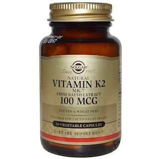 Solgar, Natural Vitamin K2, 100 mcg, 50 Vegetable Capsules