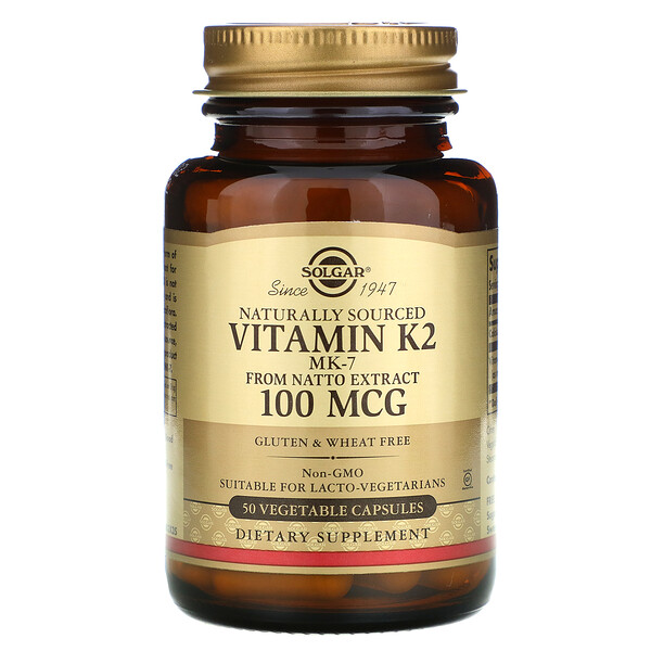 Solgar, Naturally Sourced Vitamin K2, 100 mcg, 50 Vegetable Capsules