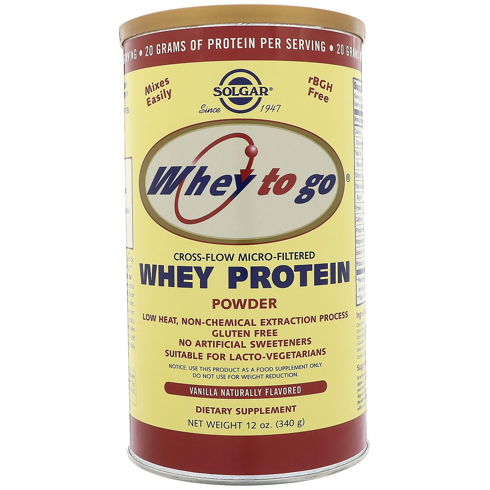 Solgar, Whey To Go, Whey Protein Powder, Vanilla, 12 oz (340 g)