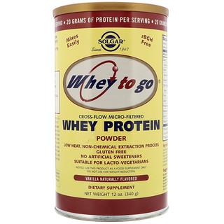 Solgar, Whey To Go, Polvo de proteína de suero , vainilla, 12 oz (340 g)