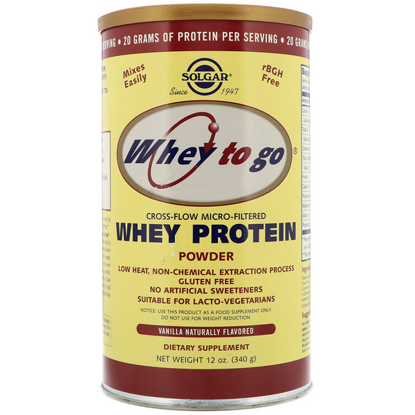 Whey To Go, Whey Protein Powder, Vanilla, 12 oz (340 g)