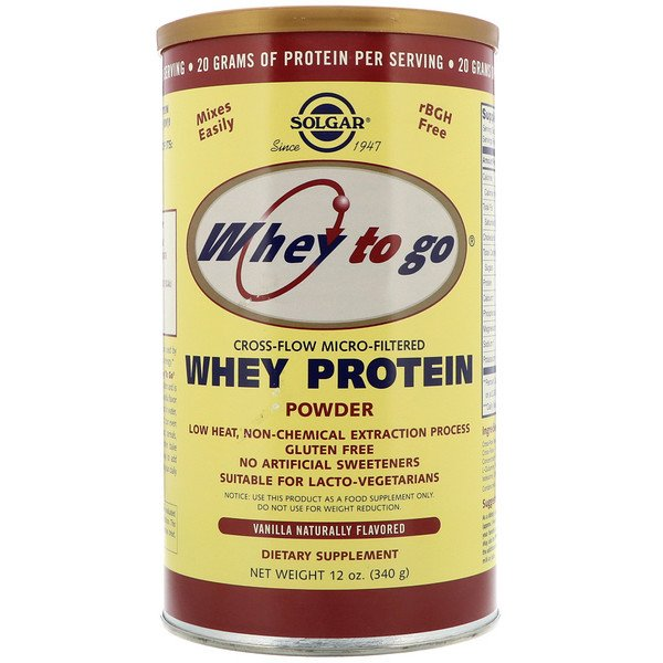 Solgar, Whey To Go, Whey Protein Powder, Vanilla, 12 oz (340 g)
