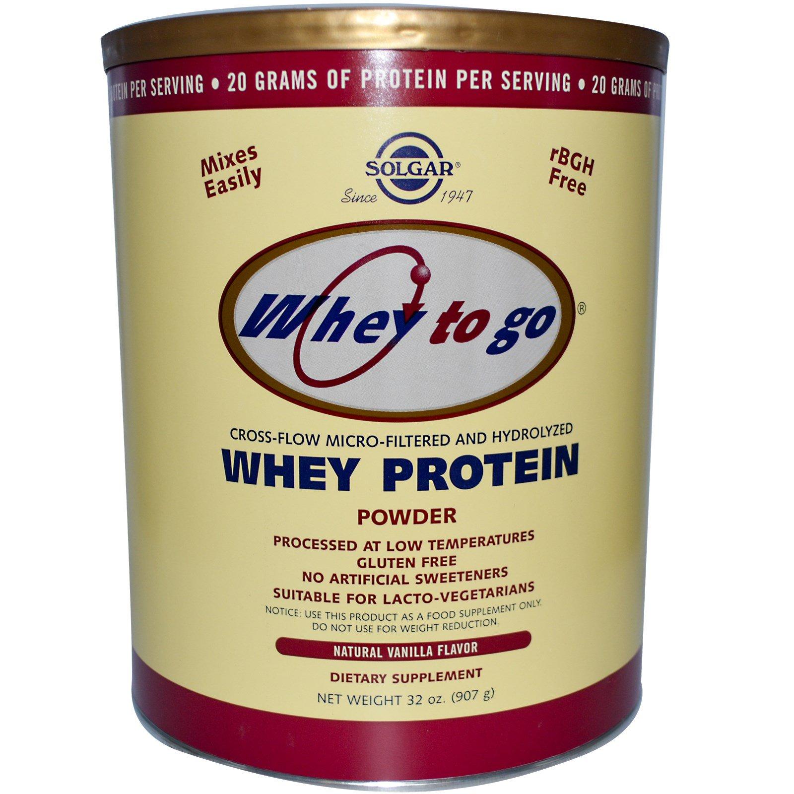 Solgar, Whey To Go, Сывороточный Протеин в Порошке, Натуральный Вкус Ванили 32 унции (907 г)