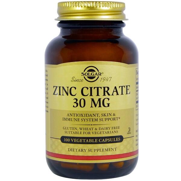 Solgar, Zinc Citrate, 30 mg, 100 Veggie Caps (Discontinued Item)