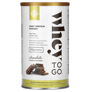 Solgar, Whey To Go، مسحوق بروتين شرش اللبن، الشيكولاتة، 16 أونصة (455 جم)
