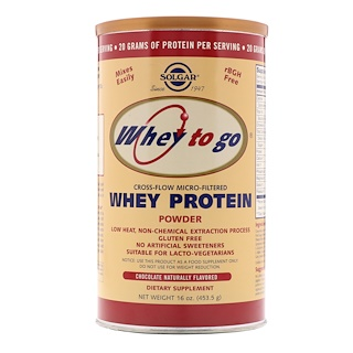Solgar, Whey To Go, Whey Protein Powder, Chocolate, 16 oz (453.5 g)