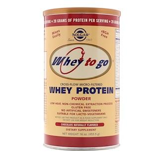 Solgar, Whey To Go, Proteína de suero, sabor natural a chocolate, 16 oz (454 g) polvo