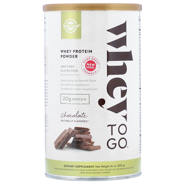 Whey To Go, Whey Protein Powder, Chocolate, 16 oz (455 g)
