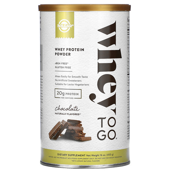 Solgar, Whey To Go, Whey Protein Powder, Chocolate, 16 oz (455 g)