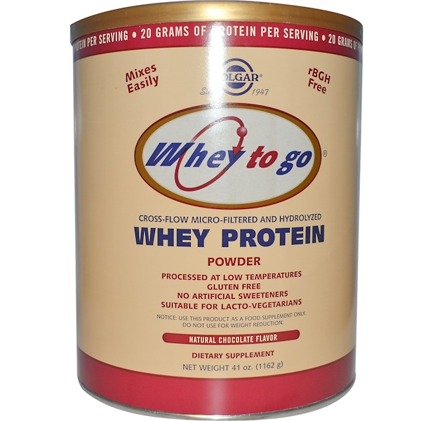 Solgar, Whey To Go, Whey Protein Powder, Natural Chocolate Flavor, 41 oz (1162 g) (Discontinued Item)