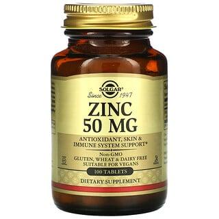 Solgar, Zinc, 50 mg, 100 comprimidos
