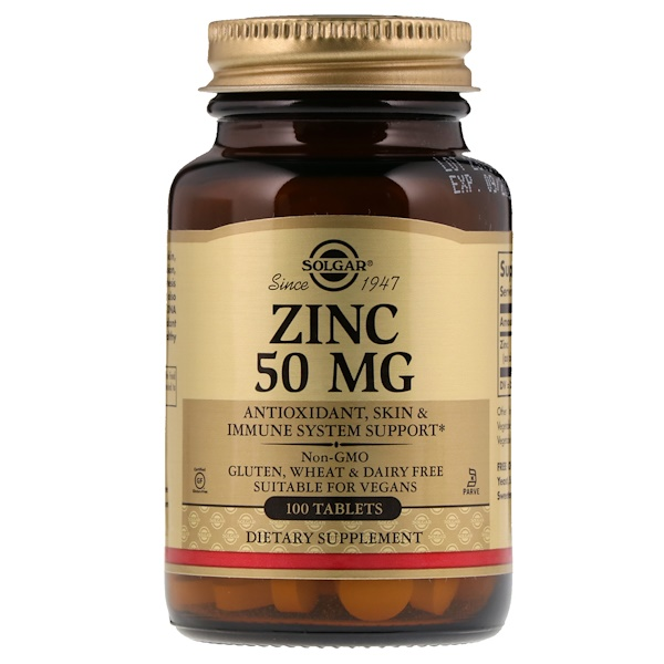 Solgar, Zinc, 50 mg, 100 Tablets