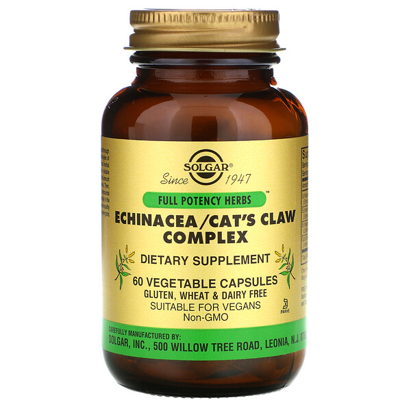 Solgar, Echinacea/Cat's Claw Complex, 60 Vegetable Capsules