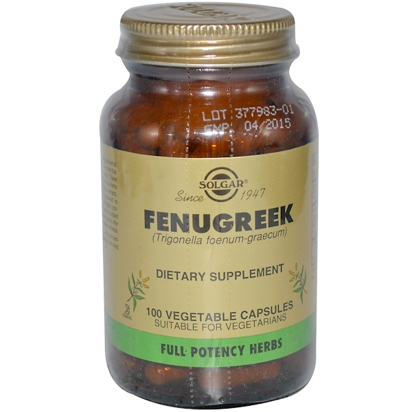 Solgar, Fenugreek, 100 Vegetable Capsules