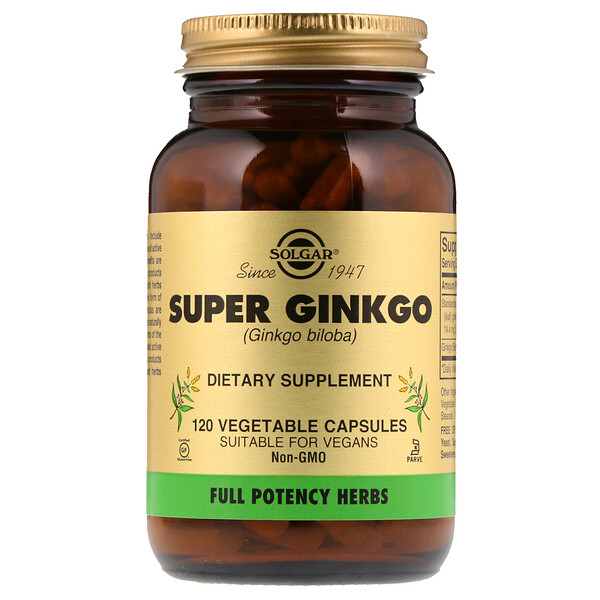 Solgar, Super Ginkgo, 120 Vegetable Capsules