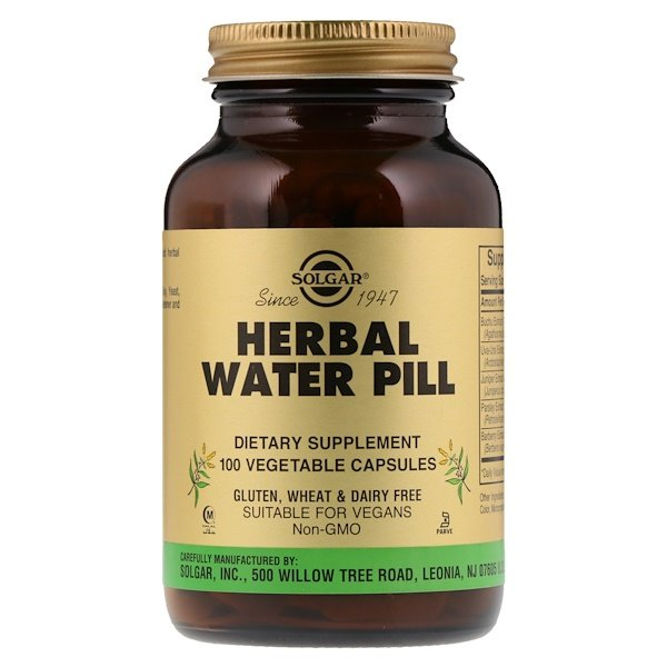 Herbal Water Pill, 100 Vegetable Capsules