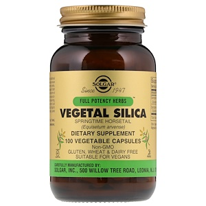 Солгар, Full Potency Herbs, Vegetal Silica, 100 Vegetable Capsules отзывы