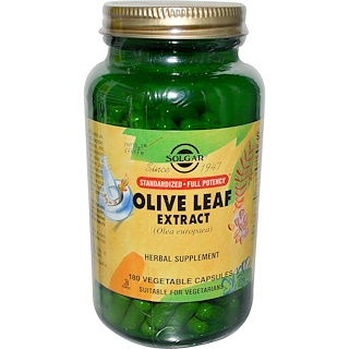 Solgar, Olive Leaf Extract, 180 Vegetable Capsules