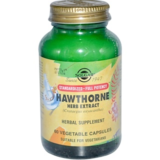 Solgar, Hawthorne Herb Extract, 60 Vegetable Capsules