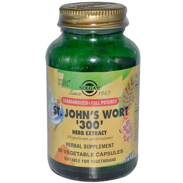 Solgar, St. John's Wort '300' Herb Extract, 50 Veggie Caps (Discontinued Item)
