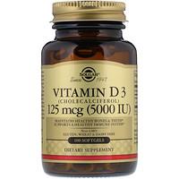 Витамин D3, холекальциферол, 5000 МЕ, 100 мягких желатиновых капсул - фото