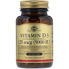 Solgar, Vitamin D3, Cholecalciferol, 5,000 IU, 100 Softgels