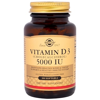 Solgar, ビタミン D3、コレカルシフェロール、5000 IU、ソフトジェル 100 錠