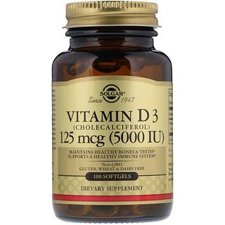 Solgar, Vitamina D3, Colecalciferol, 5000 UI, 100 cápsulas gelatinosas