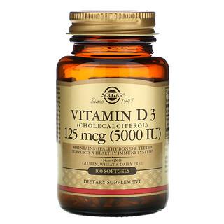 Solgar, 維生素 D3 (膽鈣化醇)軟膠囊,125 微克 (5,000 IU),100 粒裝