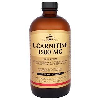 Solgar, L-Carnitine, Natural Lemon Flavor, 1500 mg, 16 fl oz (473 ml)