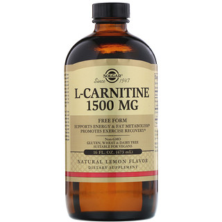 Solgar, L-Carnitine, Natural Lemon Flavor, 1,500 mg, 16 fl oz (473 ml)