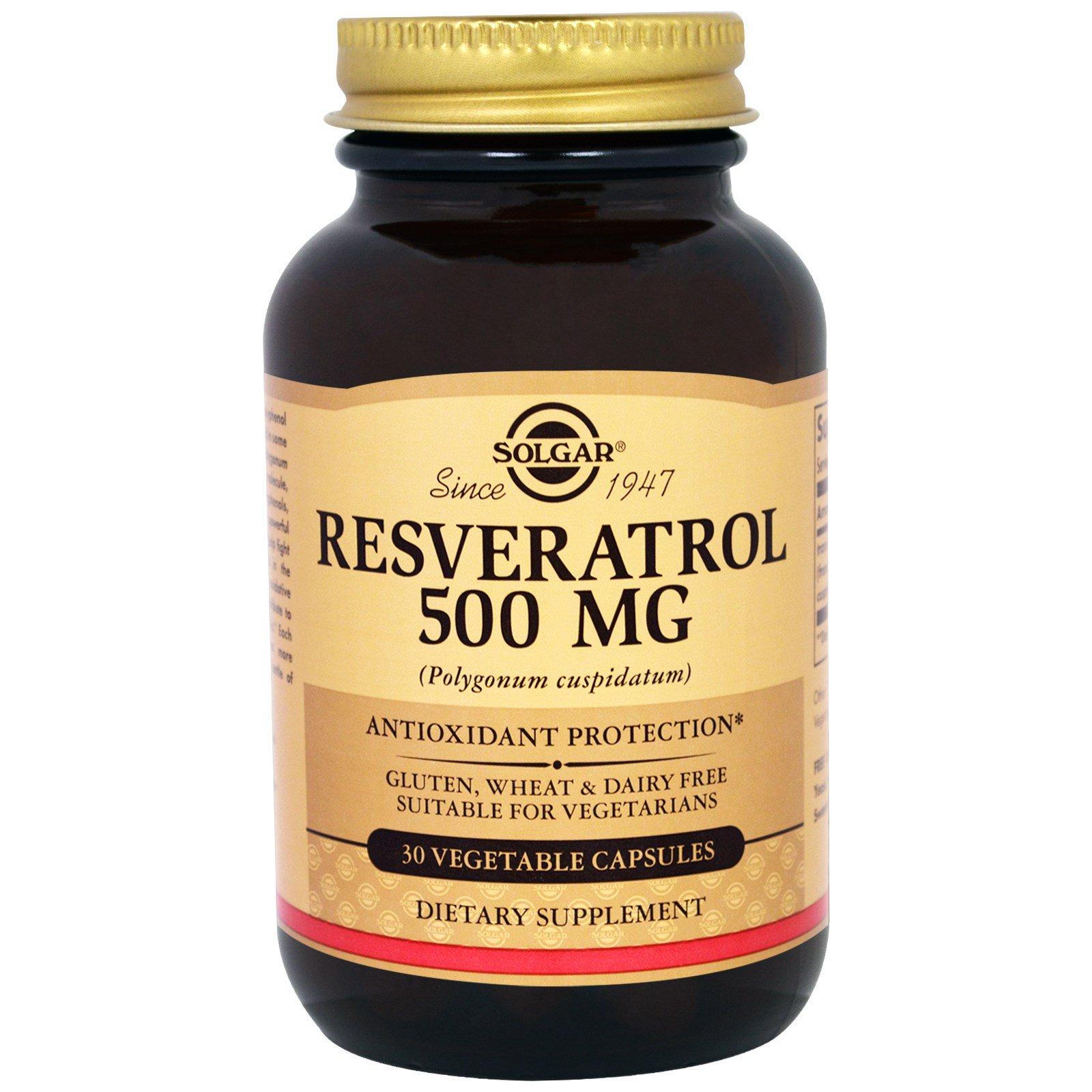 Solgar, Ресвератрол, 500 мг, 30 капсул на растительной основе