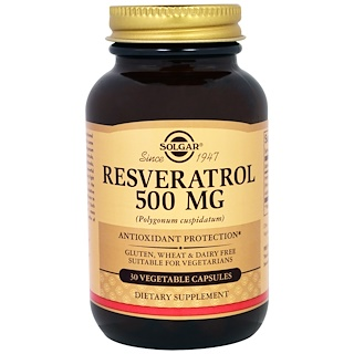 Solgar, Resveratrol, 500 mg, 30 Vegetable Capsules