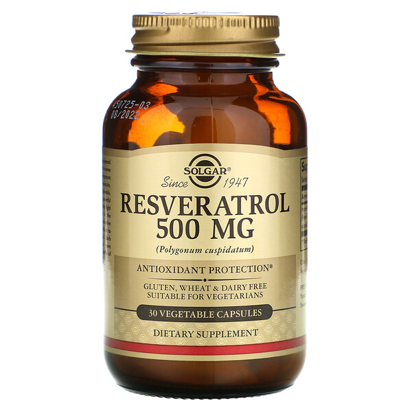 Resveratrol, 500 mg, 30 Vegetable Capsules