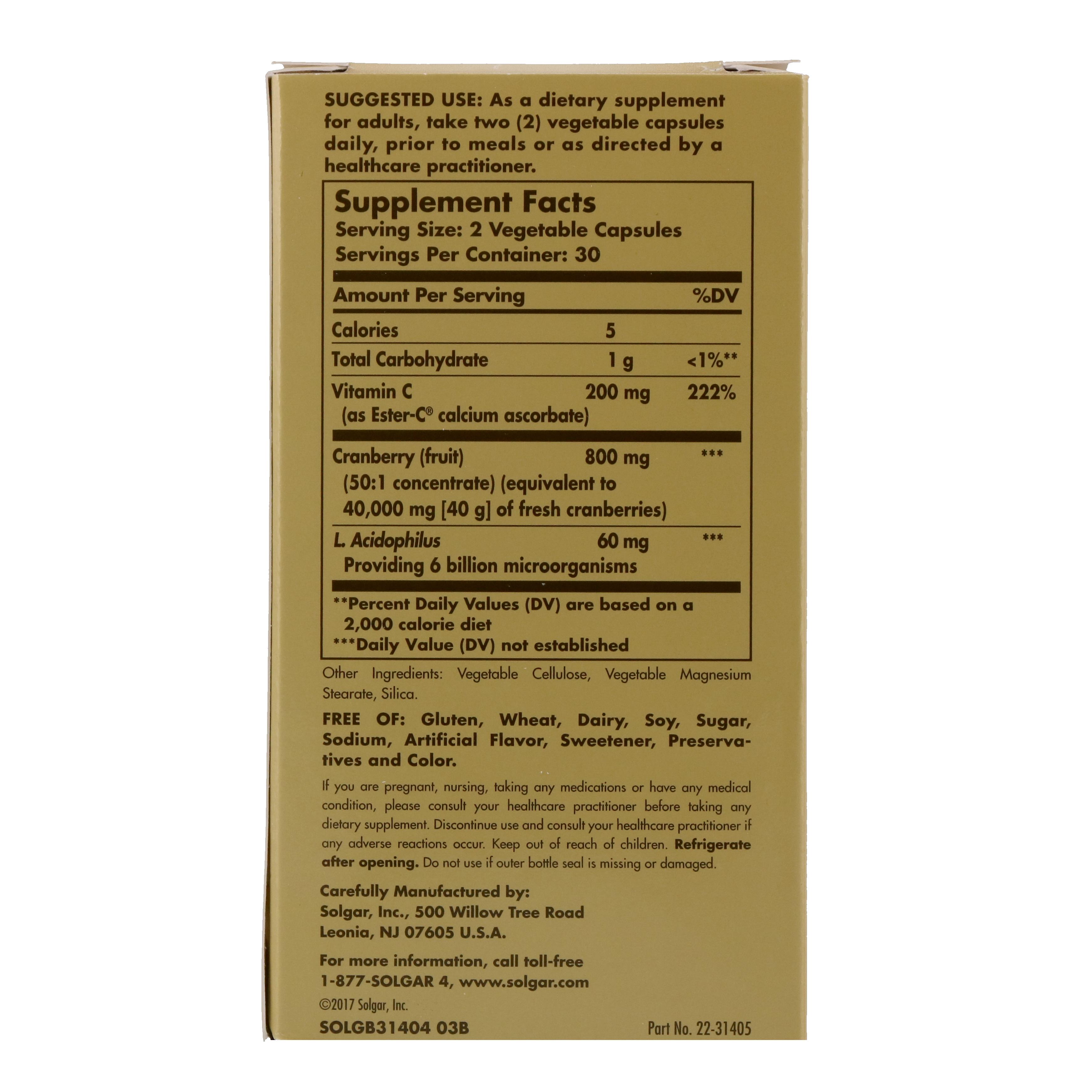 Solgar, Cran Flora, with Probiotics, 60 Vegetable Capsules - iHerb.com