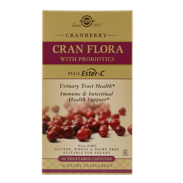 Solgar, Cran Flora, with Probiotics, 60 Vegetable Capsules
