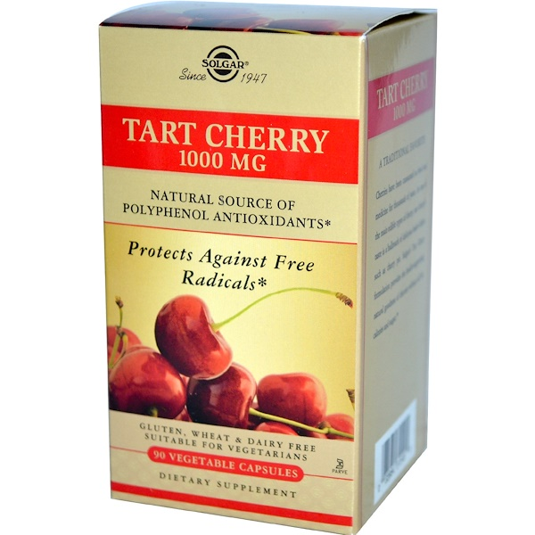 Solgar, Tart Cherry, 1000 mg, 90 Vegetable Capsules