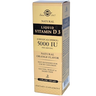 Solgar, Liquid Vitamin D3, 5000 IU Per Serving, Natural Orange Flavor, 2 fl oz (59 ml)