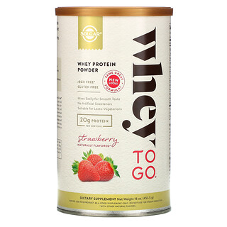 Solgar, Whey To Go, Whey Protein Powder, Strawberry, 16 oz (453.5 g)