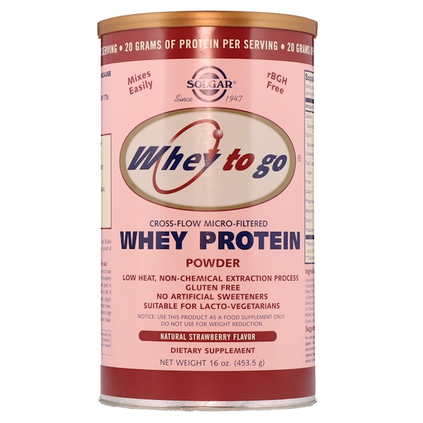 Solgar, Whey To Go, Whey Protein Powder, Natural Strawberry Flavor, 16 oz (453.5 g)