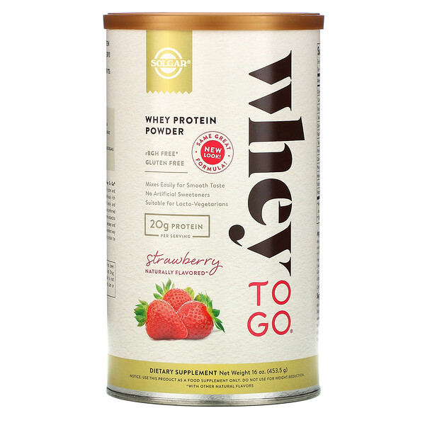 Whey To Go, Whey Protein Powder, Strawberry, 16 oz (453.5 g)