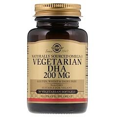 Solgar, Omega 3 de origen natural, DHA vegetariano, 200 mg, 50 cápsulas blandas vegetarianas