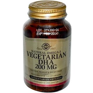 Solgar, Natural Omega-3, Vegetarian DHA, 200 mg, 50 Vegetarian Softgels