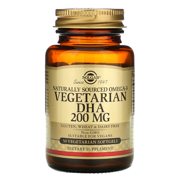 Naturally Sourced Omega-3, Vegetarian DHA, 200 mg, 50 Vegetarian Softgels