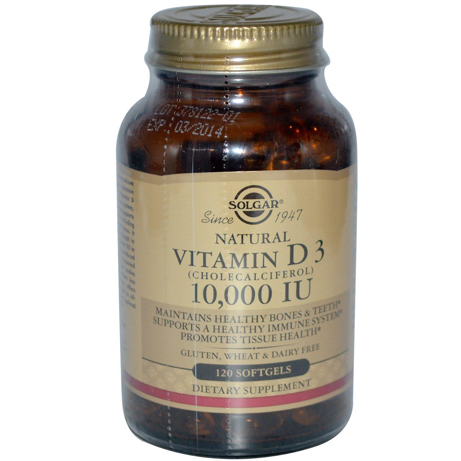 Solgar, Натуральный витамин D3, 10000 МЕ, 120 гелевых капсул