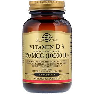 Solgar, Vitamin D3 (Cholecalciferol), 250 mcg, 10,000 IU, 120 Softgels