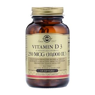 Solgar, 천연 비타민 D3, 10,000 IU, 120 소프트젤